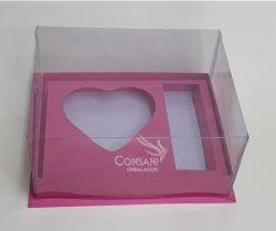 Cx. P/ 1 Coração de Colher 200 grs + 03 Bombons - Cartonagem