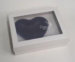 Cx.  P/ Coração de 500 grs - Cartonagem C/ Visor