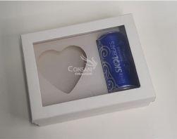 Cx. P/ Coração de 200 g + Skol - Cartonagem C/ Visor