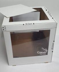 Cx. Topo P/ Bolo C/ Visor - 30,0 x 30,0 x 25,0 cm